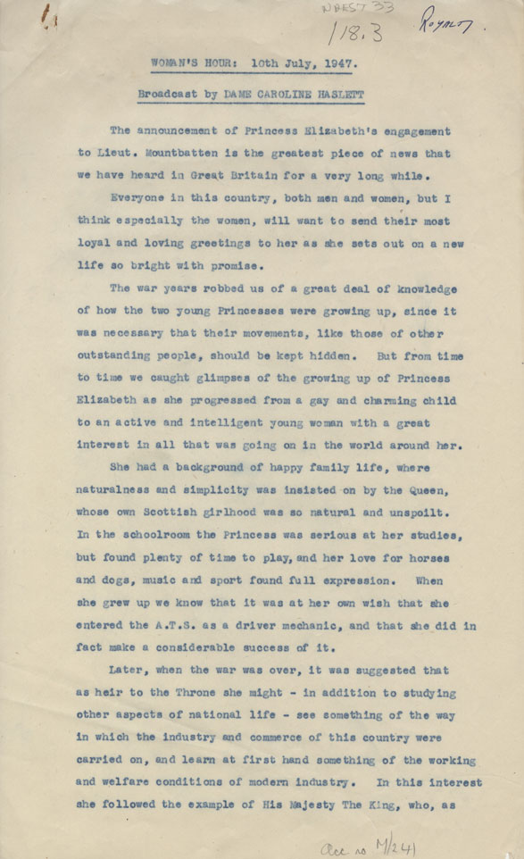 NAEST-33-18-03-Caroline-Haslett-Womens-Hour-Script-About-Princess-Elizabeth-Page-1