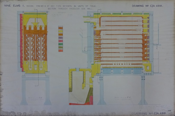 NAEST 240 02 - Nine Elms Gas Works - gas retorts vertical section through producer side wall