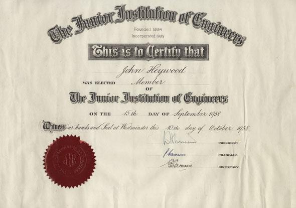 SC-MSS-267-04-05-John-Heywood-JIE-Membership-Certificate-1958