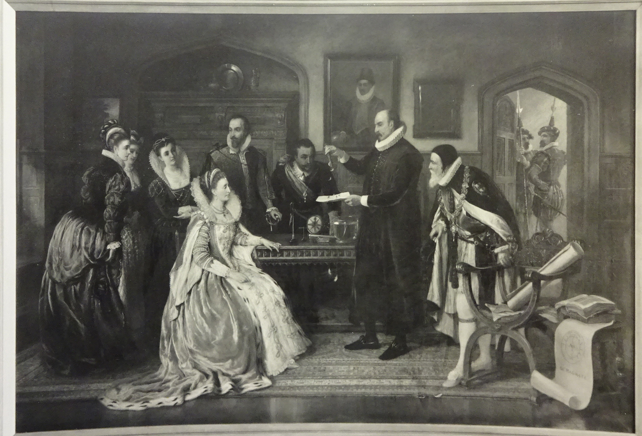 William Gilbert demonstrating his electrical experiments to Queen Elizabeth